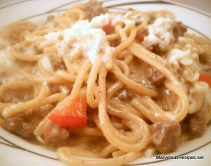 Creamy Beef Spaghetti Skillet