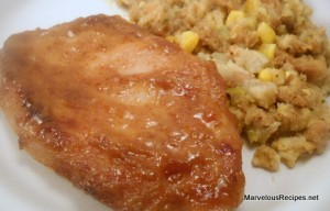 Corn Stuffing & Pork Chops